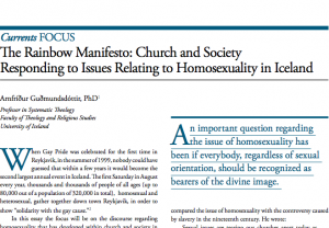 The Rainbow Manifesto: Church and Society Responding to Issues Relating to Homosexuality in Iceland