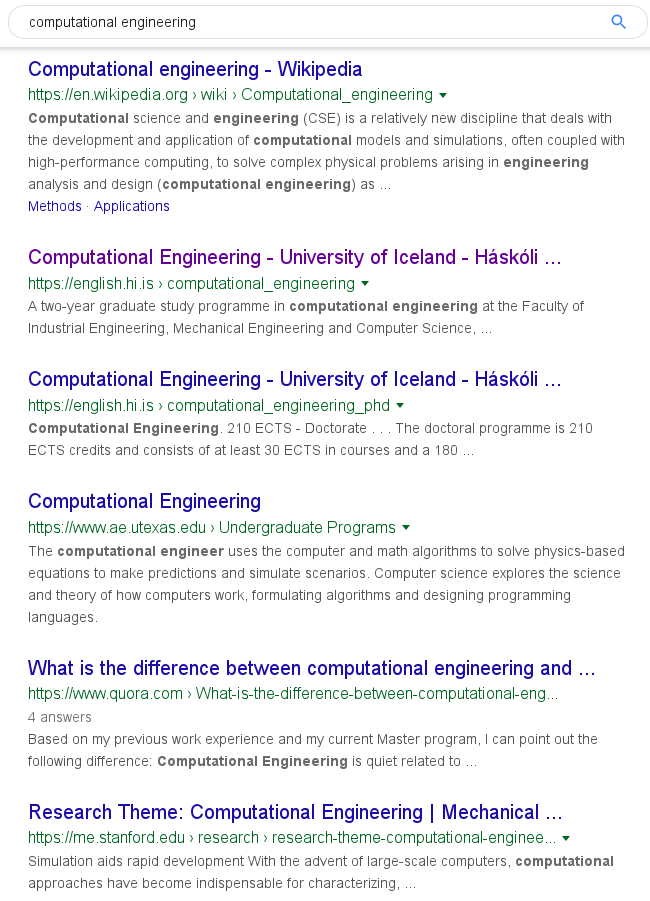 Helmut Neukirchen Experiment On Google Search Results For Tolvunarfraedi Hugbunadarverkfraedi Reikniverkfraedi Computer Science Software Engineering Computational Engineering