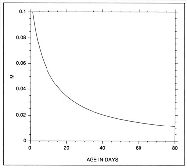 FIG. 11. Inverse relationship between instantaneous mortality rate (M in units of d-1) and daily age which was used in the simulation of Fig. 12.