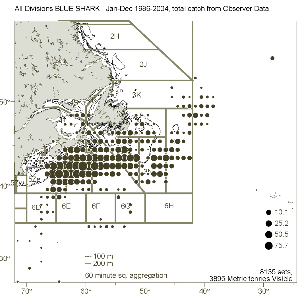 Distribution of blue sharks caught by commercial fishermen.